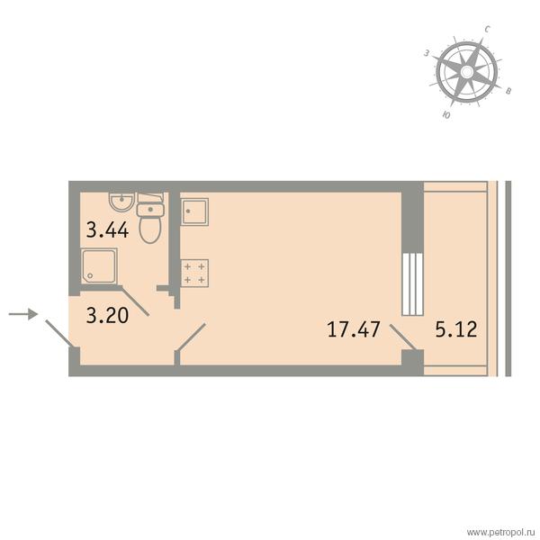 Планировка Однокомнатная квартира площадью 25.65 кв.м в ЖК «Трилогия»