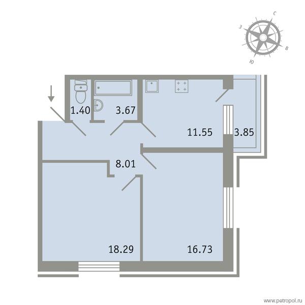 Планировка Двухкомнатная квартира площадью 60.81 кв.м в ЖК «Трилогия»