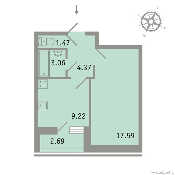 Планировка Однокомнатная квартира площадью 37.06 кв.м в ЖК «Трилогия»