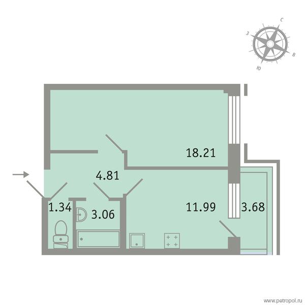 Планировка Однокомнатная квартира площадью 40.51 кв.м в ЖК «Трилогия»