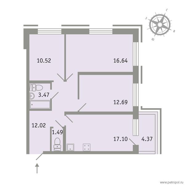 Планировка Трёхкомнатная квартира площадью 75.24 кв.м в ЖК «Трилогия»