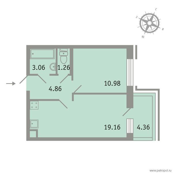 Планировка Однокомнатная квартира площадью 40.63 кв.м в ЖК «Трилогия»