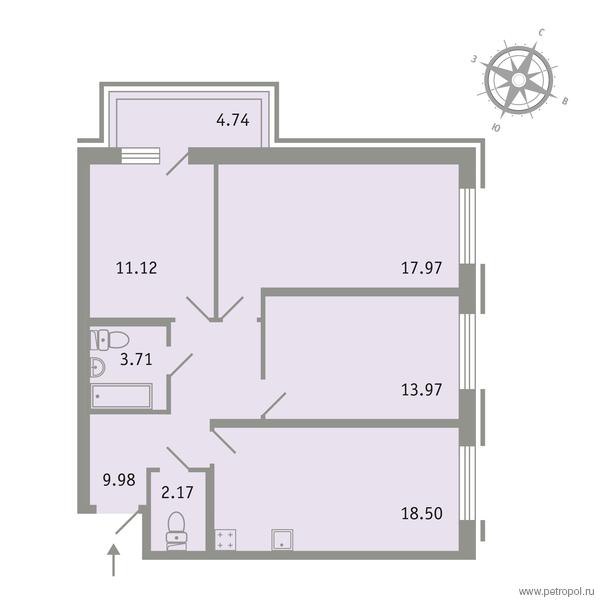 Планировка Трёхкомнатная квартира площадью 78.84 кв.м в ЖК «Трилогия»