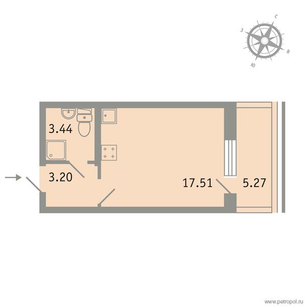 Планировка Однокомнатная квартира площадью 25.73 кв.м в ЖК «Трилогия»